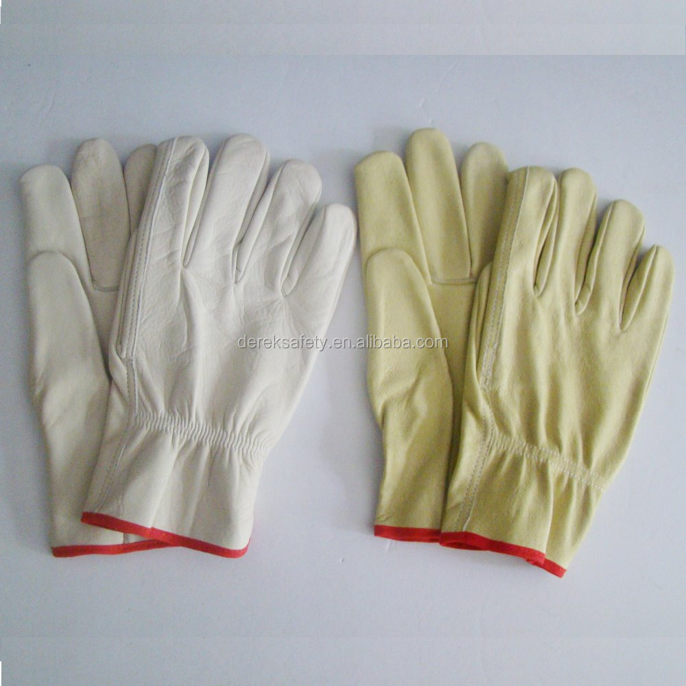 Golden Cow Grain Leather Driver Gloves Wing Thumb Shirred Elastic Back Work driver Gloves