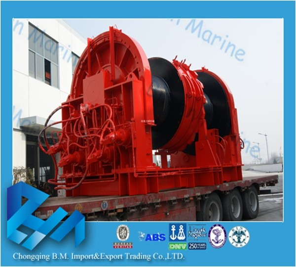 self contained fishing trawler hydraulic winch with wire rope