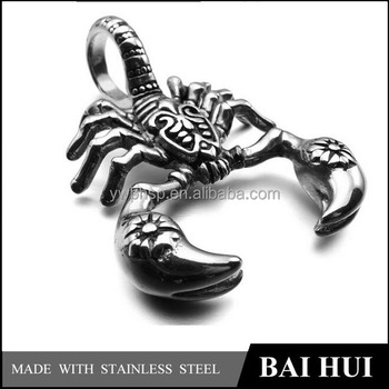 Wholesale Simple Men's Polished Stainless Steel Antique Scorpion Pendant Charm