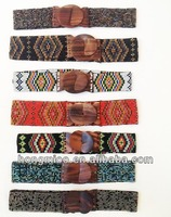 Fashion accessory Wooden buckle gorgeous beaded belts