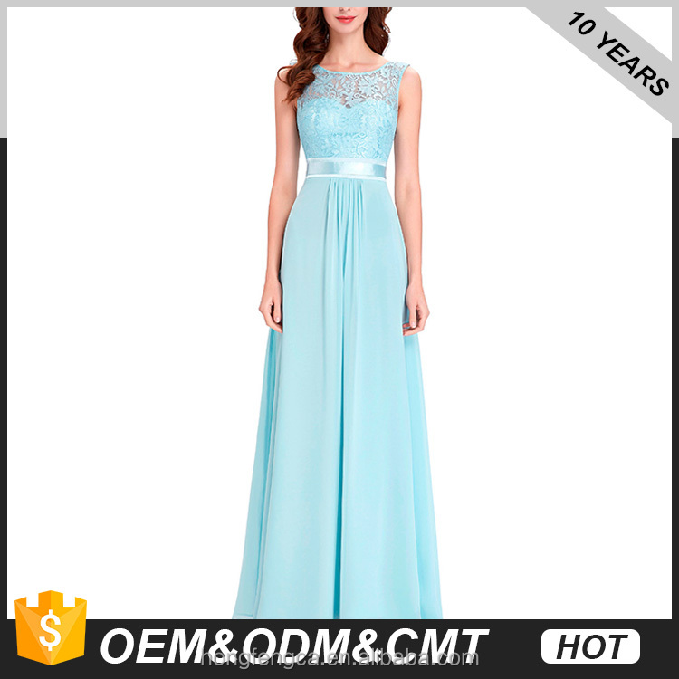 2017 New Brands Ladies Evening Dresses Long Designer Evening Gowns Blue Chiffon Party Dress Lace Abaya Formal Dresses