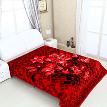 Luxury thick fleece blanket , polyester filling blanket with embossed and printed technology.