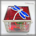 MX160107 solder stained glass jewelry box with dragonfly tin accessory