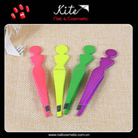 Girls Shaped Colorful Plating Stainless Steel Eyebrow Tweezers Slant Tweezer