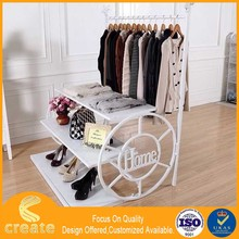 Clothing display stand for your boutique with build in shelf,metal clothes rack