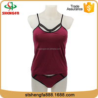 Hot fashion factory direct selling wine red nylon wholesale sexy lingerie for ladies