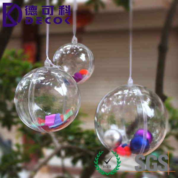 5 Inch Decorative Clear Acrylic Fillable Christmas Plastic Ornament Ball