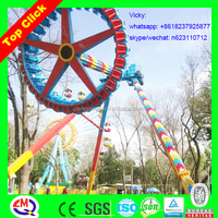Amusement park!!! Fun fair big pendulum ride with LED lights