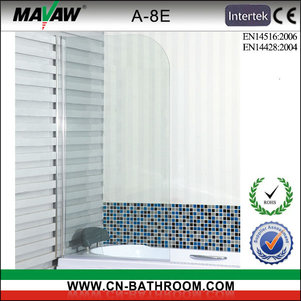 tempering glass shower screen bathtub 180 degrees swing screen A-8E