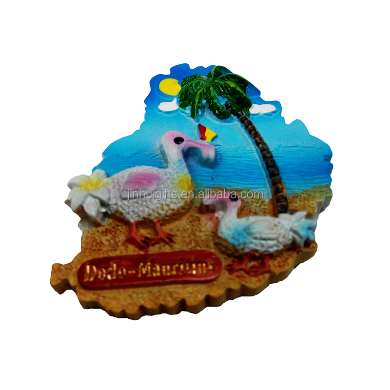 Innovative popular hot gifts cheap custom 3D resin souvenirs Mauritius tourism resin refrigerator magnet