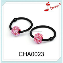 2015 wholesale hair jewelry rope women fashion neon ball crystal girls elastic hair bands,