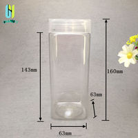 500ml square shape food dry flower snack container plastic jars