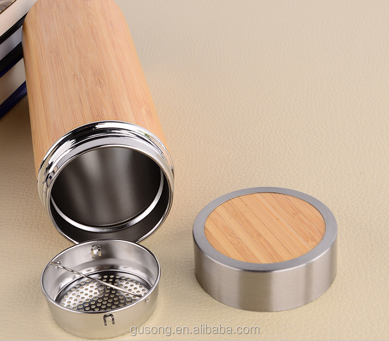 FDA passed bamboo vacuum flask, Wide mouth stainless steel bamboo thermos tea cups, Vacuum insulated Bamboo Travel Mug