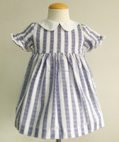 100% woven cotton wholesale blue stripe short sleeves dress