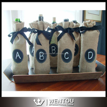 Personalized Burlap Wine Bag with Drawstring