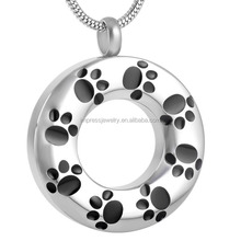 IJD8084 Pet Funeral Souvenir Stainless Steel Circle of Life Memorial Urn Jewelry Paw Print Cremation ashes pendant necklace