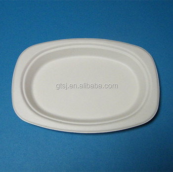 disposable biodegradable sugarcane oval plate