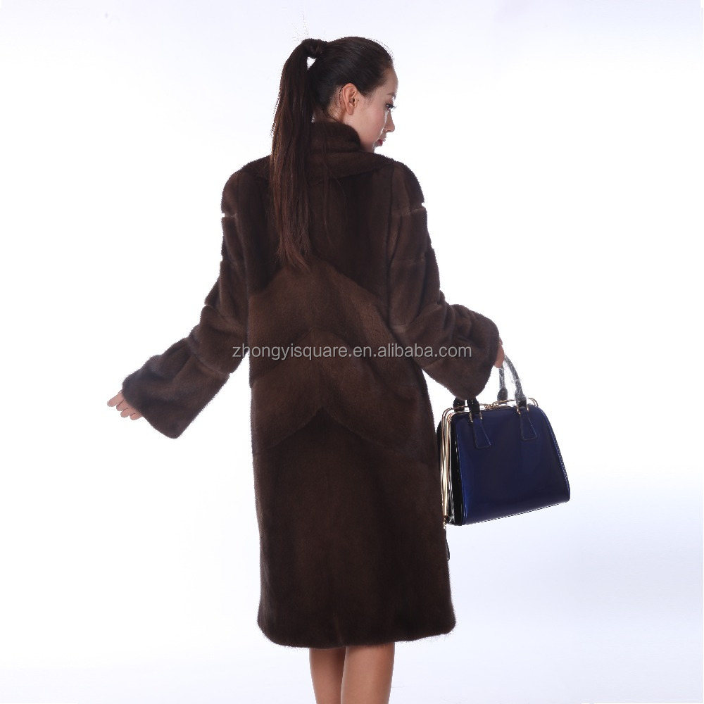Y15A002 white mink fur coat short design twill plate