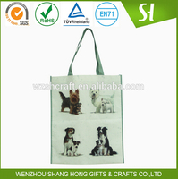 New style non woven laminated gift bag/Cute loyal dog images shopping grocery bag