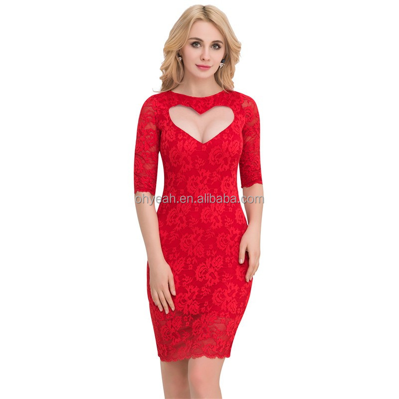 2017Mix colors fashion elegant heart shape women lace dress