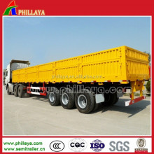 High Quality Drop Side Wall Truck Semi-trailer With Lift Axle Air Suspension For Sale