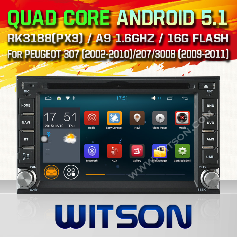 WITSON Android 5.1 CAR DVD For PEUGEOT 307 2002-2010 207 3008 2009-2011 with Quad Core Rockchip 3188 1080P 16g