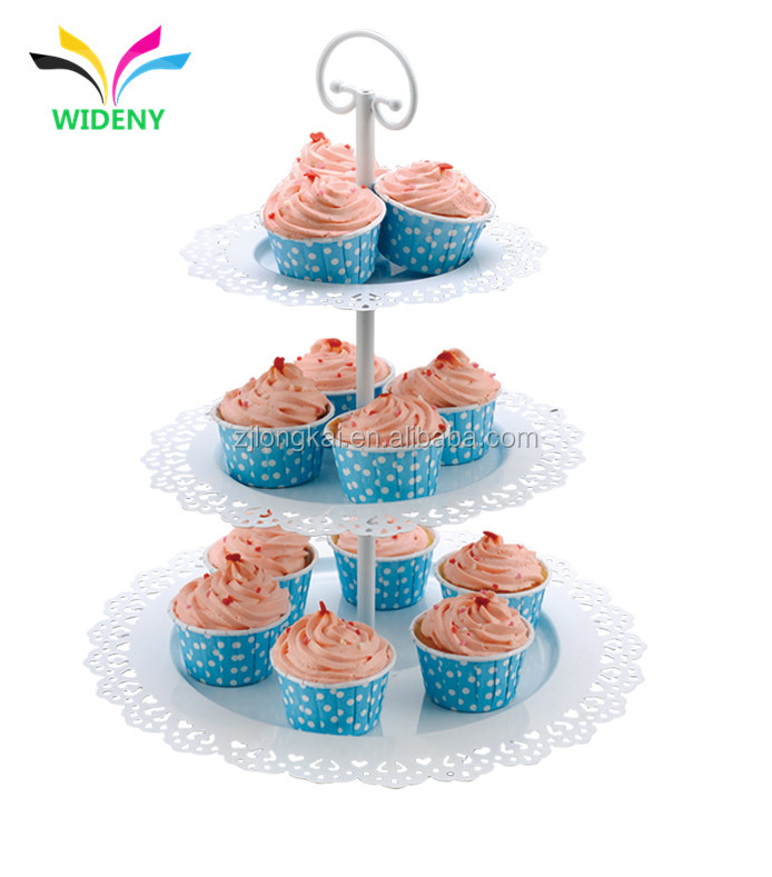 Wholesale 3-Tier Metal Wire Decorative Folding Wedding Fruit Cake Plate Stand