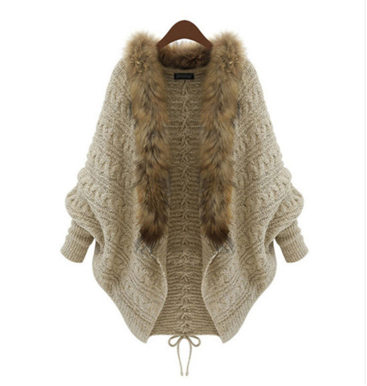 Fashion korean cardigan sweater with fur collar design winter women cardigan