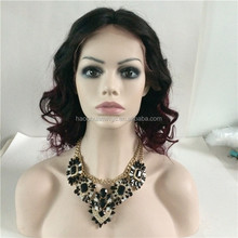 Middle Parting Wig, Ombre Black With Red Wavy Lace Front Wig