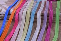 "10yards 5/8"" good quality Solid Color Fold Over Elastic Spandex Satin Band Lace Sewing Glossy Hair Ties Accessories"