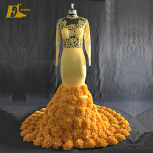 High Quality Lace Appliqued Mermaid Long Sleeve Yellow Real Evening Dress