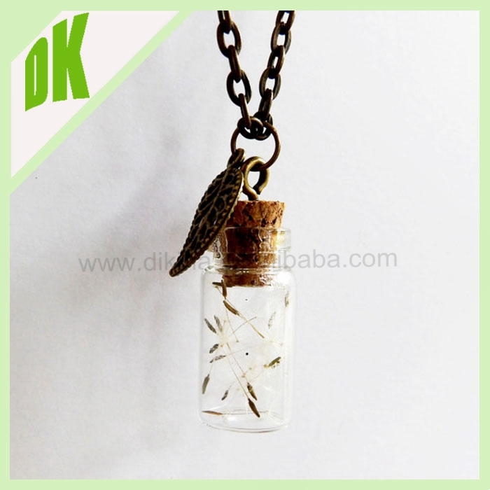 DIY charms bottle Pendants for women necklaces //wholesale vial glass pendants charms