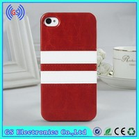 cheap price double color stripe stick a skin PU leather case for iphone 5 5s