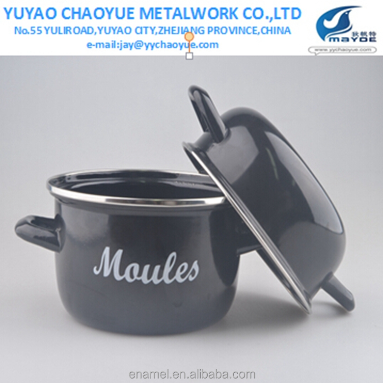 enamel big mussel pot with customized logo for Europe kitchen use enamelware cookware