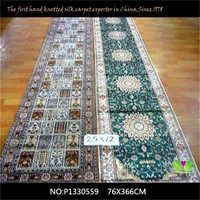 China factory Nanyang hand knotted pure silk corridor carpet P1330559 2.5x12ft(76x366cm)