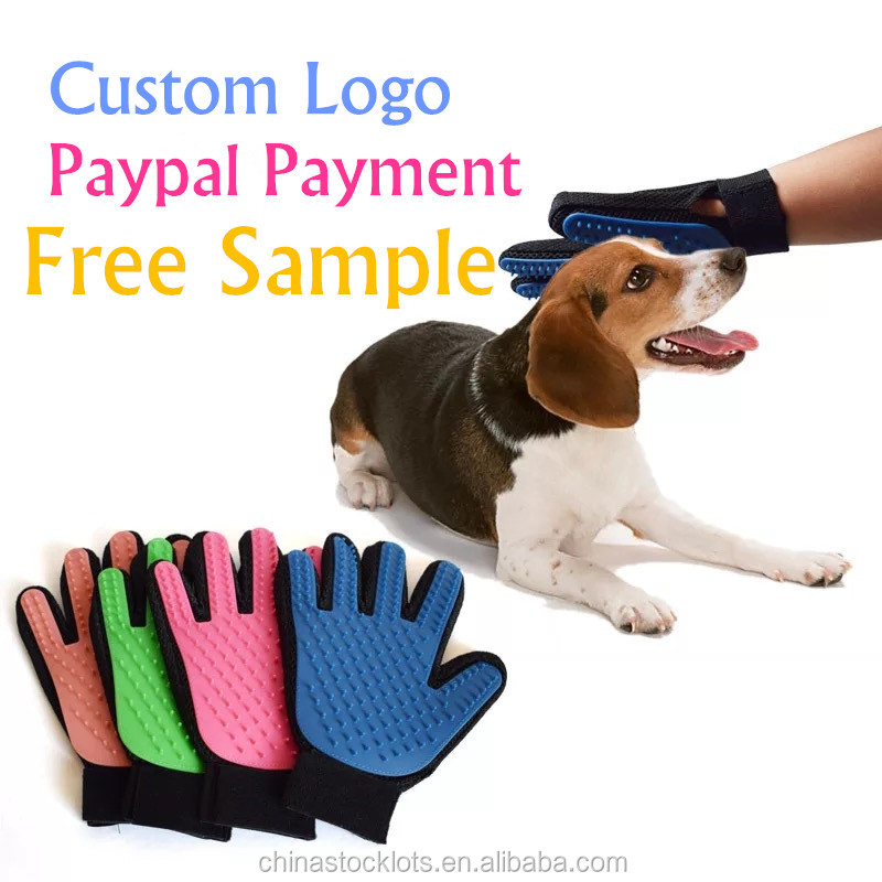 Paypal small order accepted free sample clean up products pet grooming glove brush pet accessories pet shops deshedding glove
