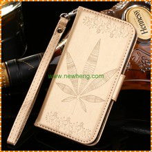New Arrival Colorful Maple Leaf Emboossed Leather Wallet Case for iPhone6/6s plus