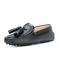 Italian Leather Upper Black Gommino Flat Tassels Ladies Casual Moccasin Shoes Women