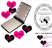 OEM LOGO Square Compact Gift LED Mirror Aluminum Shell Folding Pocket makeup Mirror