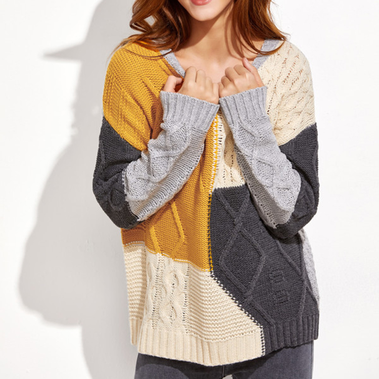 Wholesale Women Round Neck Color Block Pullover Mixed Kint Oversized Sweaters