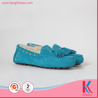 Customize design warm italian style blue women moccasin shoes made in China