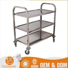 Hot Sales Kitchen Square Tube Hotel Trolley Room Service Cart