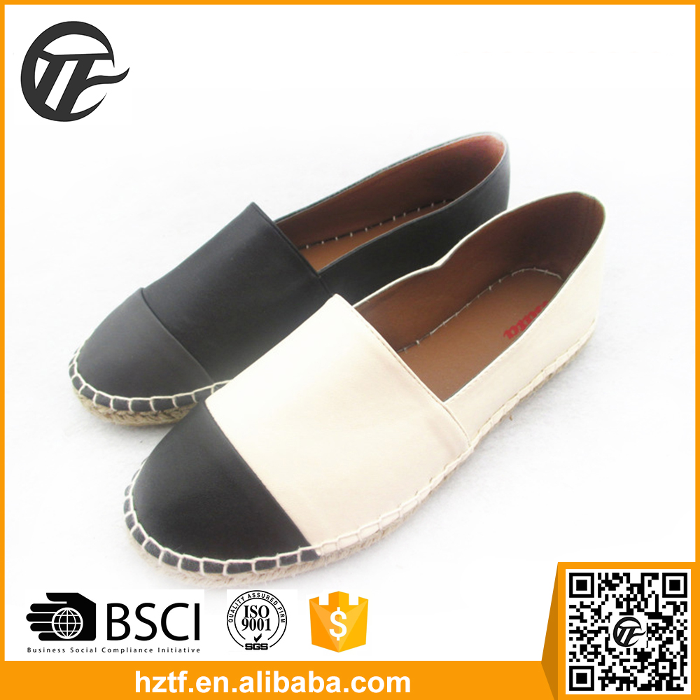 Black and white hemp China shoes manufacture new design 2016