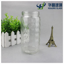 clear 16oz pineapple juice drink glass jar custom embossed glass beverage container with metal screw cap