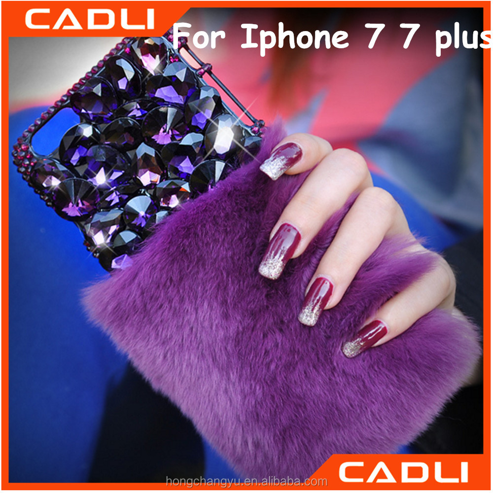 Purple Rhinestone Shinning Rabbit Fur Phone Case for iphone 6 7 7 plus