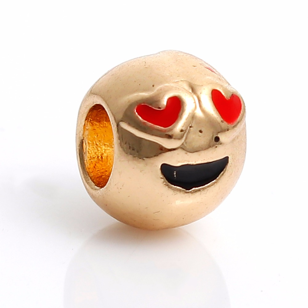 Zinc Based Alloy European Style Large Hole Charm Beads Round Gold Plated Emoji Heart Eyes Black & Red Enamel About 10mm