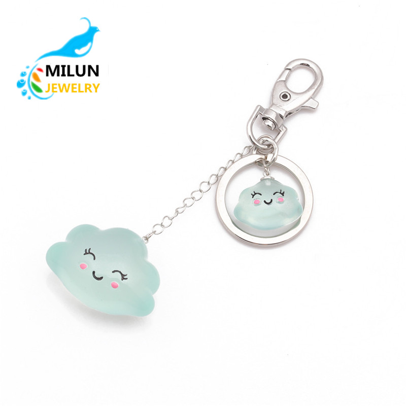 Custom cheap items to sell printed keyring resin cloud charms keychain keyrings