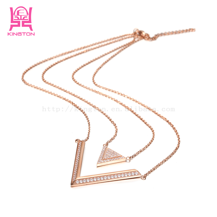 fashion double-V zircon triangle pendant necklace rose gold