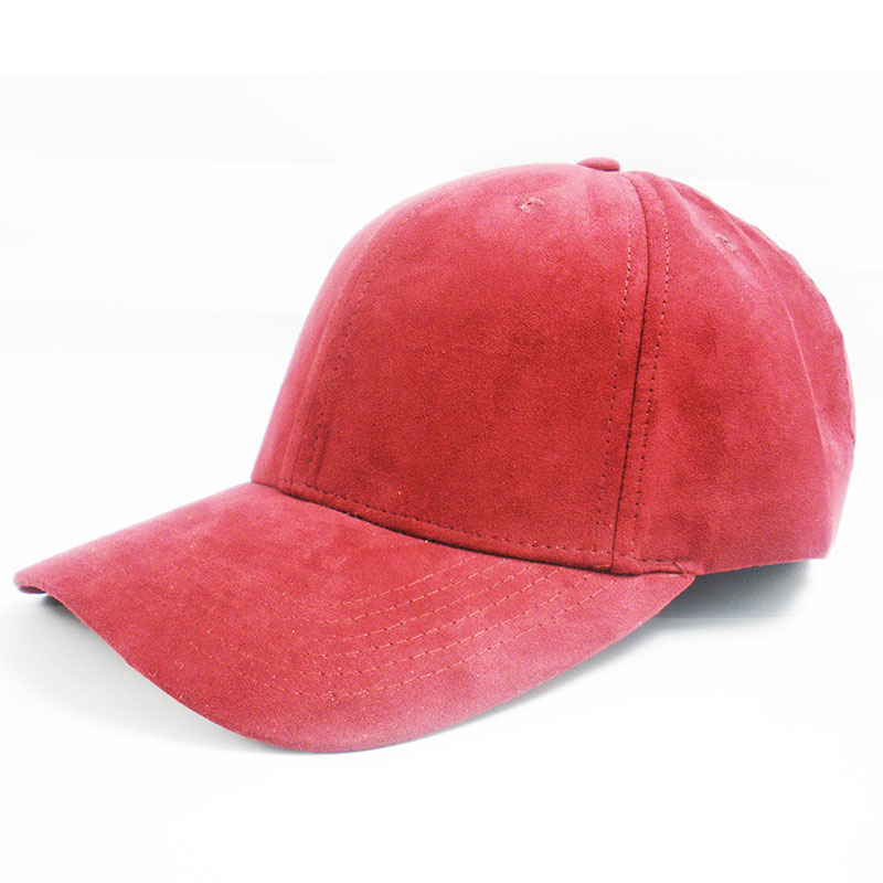 Custom blank Red suede Base ball Cap For Wholesales