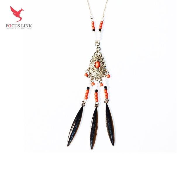 new design golden tassels zircon beaded necklace